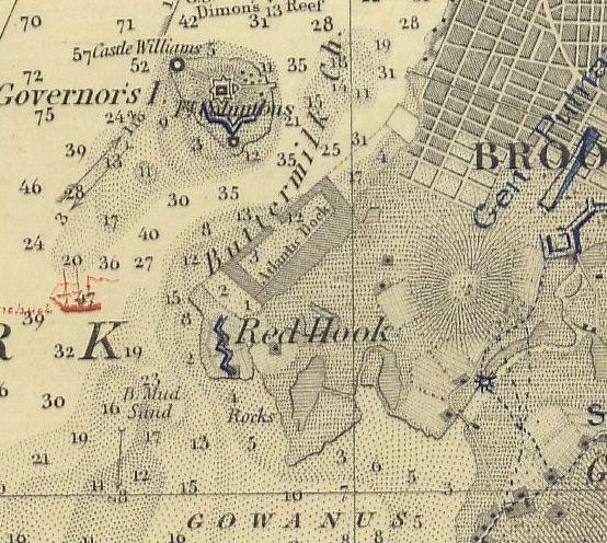 Nautical Chart No. 369, New York Bay and Harbor, 1845 [cropped]