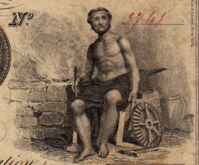 Crop from a Red Hook Building Company certificate share, 1838