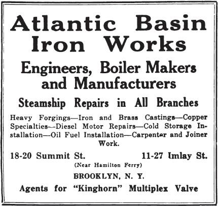 Advertisement for Atlantic Basin Iron Works, 1918