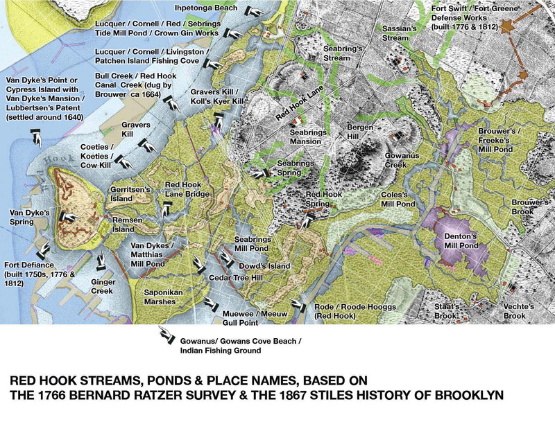 Eymund Diegel map: Red Hook streams ponds place names