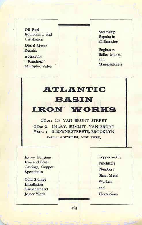 Atlantic Basin Iron Works, advertisement 1927
