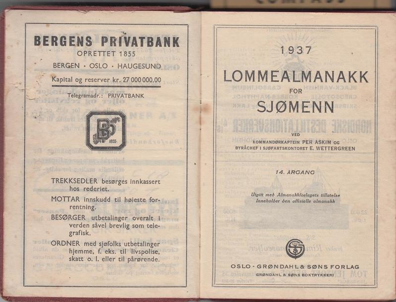 Alf Dyrland's Sailor's Pocket Almanac. 1937 <br /><br />