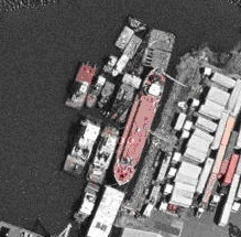 12 vessels tied up alongside Mary A Whalen in the Erie Basin Bargeport: <br />2004 Google aerial photograph