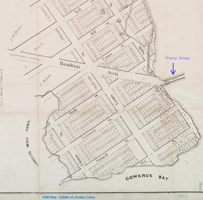 1836 Map of Joradan Coles's Estate showing bridge at end of Hamilton Avenue.