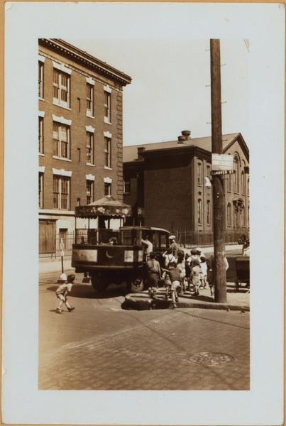 Children gathered at corner of Wolcott and Conover Streets