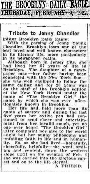 Obituary of Jenny Young Chandler