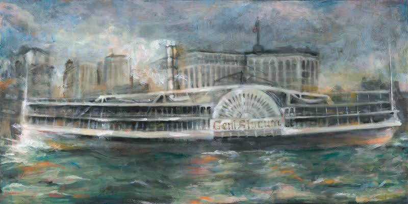 """Slocum Disaster #19, Before, Side, 12"""" x 24"""" Oil on Board, 2016"""