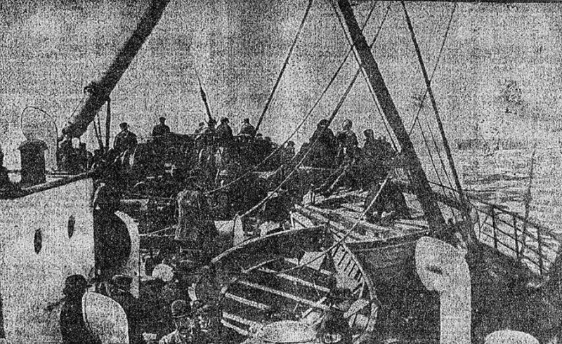 Titanic Lifeboats on the deck of the Capathia, 1912<br /><br />
