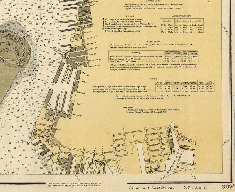 Nautical Chart No. 369(4), Hudson & East Rivers, NY, 6th Ed.,  1919 [cropped]
