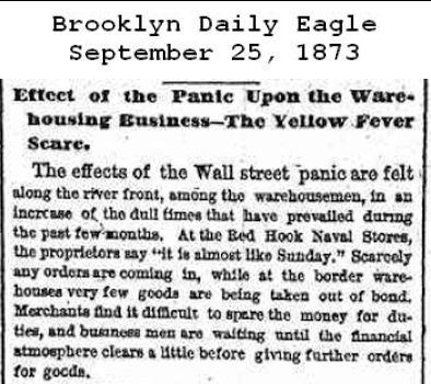 <em>Effect of the Panic Upon the Warehousing Business<br /></em> <strong>Brooklyn Daily Eagle</strong>, September 25, 1873