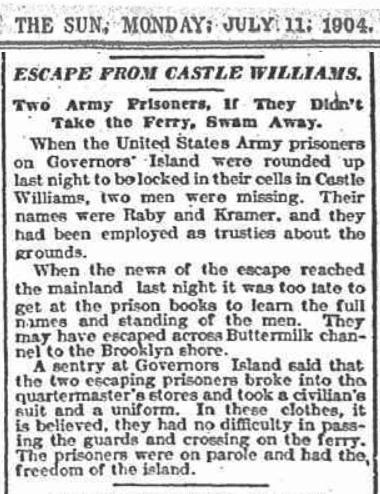 Escape from Castle Williams. The Sun, July 11, 1904