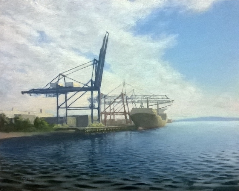 Container Port, Sky and Water