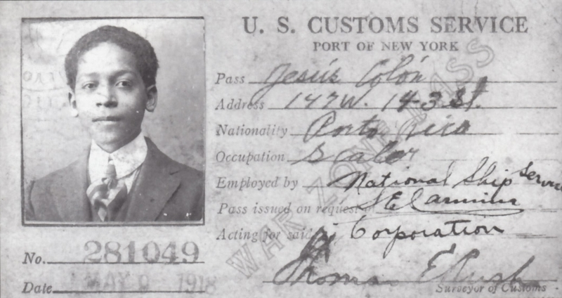 Jesus Colon's US Custom Service Identification Card, 1918