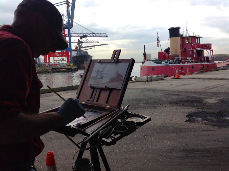 Jim Ebersol making a painting of MARY WHALEN inside the Red Hook Container Port, 2015.