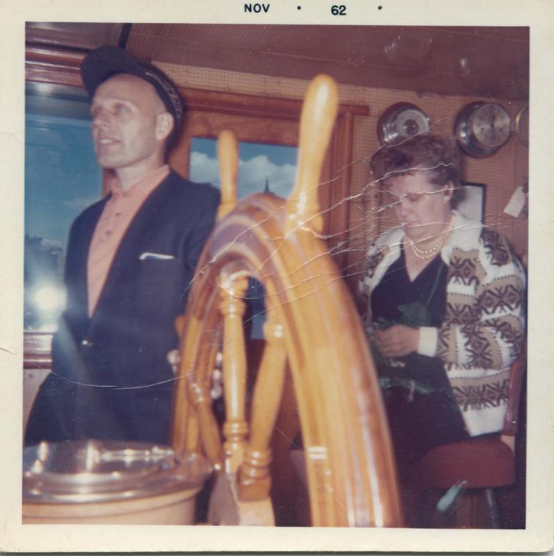 Alf and Elsie Dyrland, WHALEN wheelhouse Nov 1962
