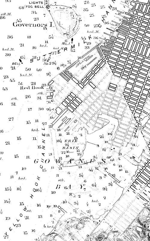 Nautical Chart No. 369, Bay and Harbor of New York, 1889 [cropped]