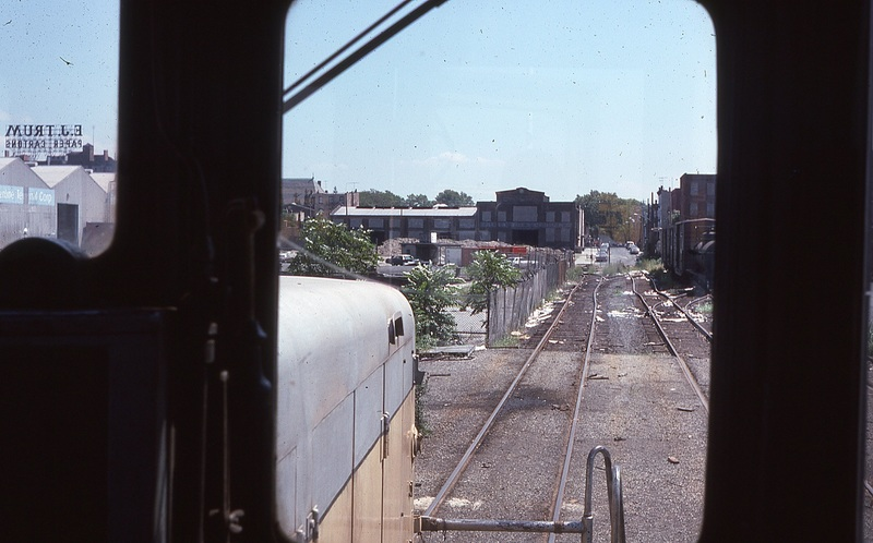 Looking East down Clinton Wharf, taken from the cab of New York Dock Railway GE 44Ton locomotive.   Heading for A&amp;S Salt.  8/21/1978<br /><br />